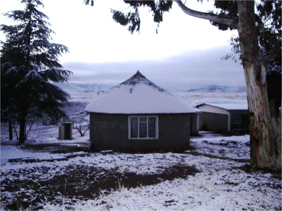 about lesotho primitive huts in winter
