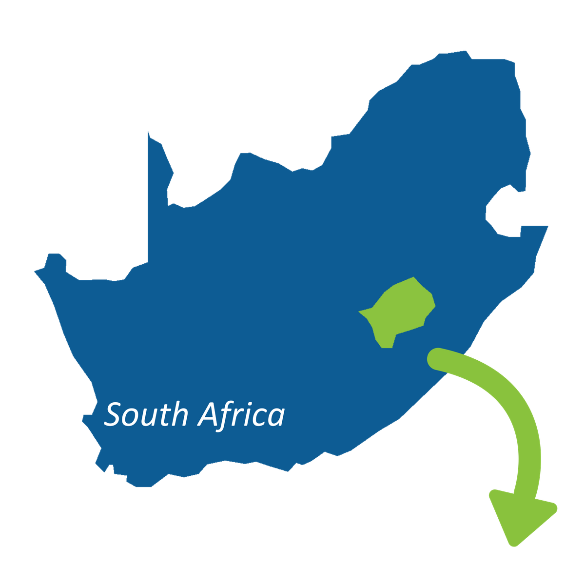 map of south africa showing lesotho