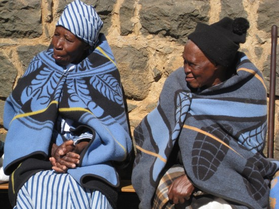 about lesotho grandmothers keeping warm in blankets