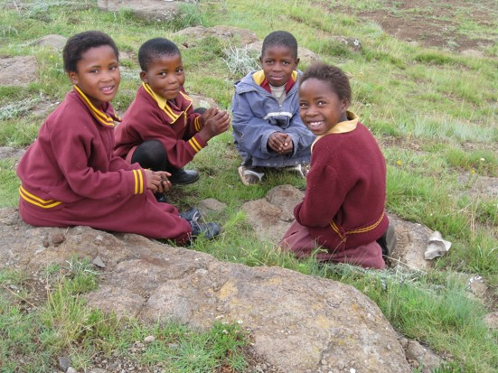 children playing games in lesotho